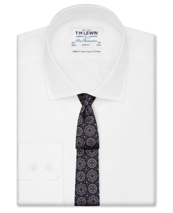 Slim Fit White Oxford Button Cuff Shirt