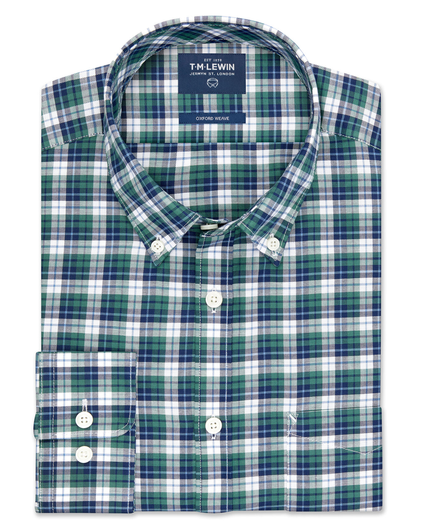 Slim Fit Navy and Green Bold Check Shirt