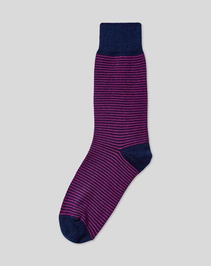 Fine Stripe Socks - Pink & Navy