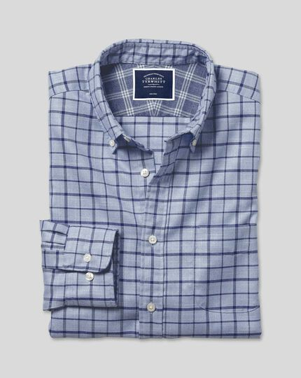 Button-Down Collar Non-Iron Twill Check Shirt - Sky & Navy
