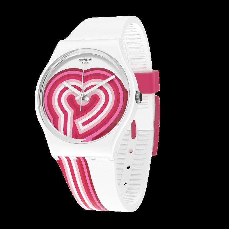 BeatPink Quartz Pink Dial White Silicone Strap