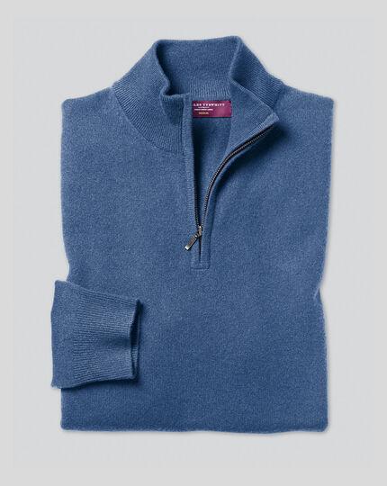 Cashmere Zip Neck Jumper - Blue