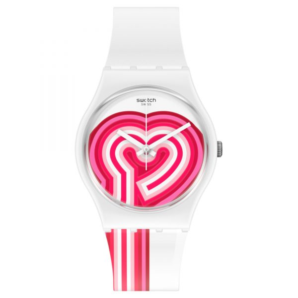 BeatPink Quartz Pink Dial White Silicone Strap