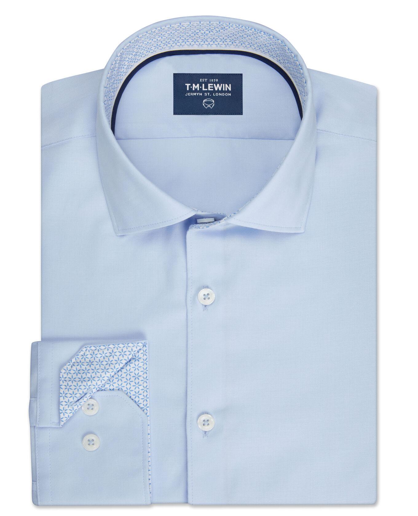 Star Trim Slim Fit Blue Twill Single Cuff Shirt
