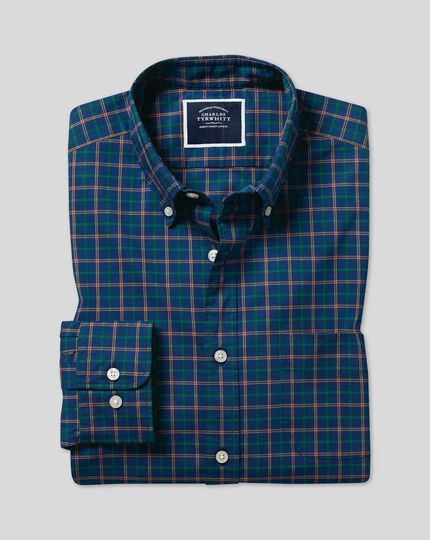 Button-Down Collar Non-Iron Stretch Poplin Multi Check Shirt - Navy