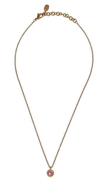 Bijoux Gold Plated Puntoluce Pink Crystal Necklace
