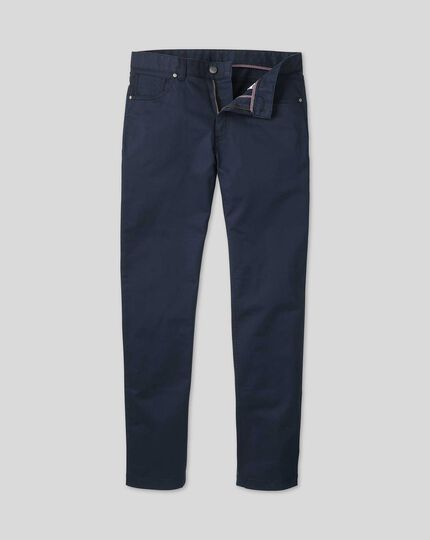 Cotton Stretch 5-Pocket Trousers - Navy