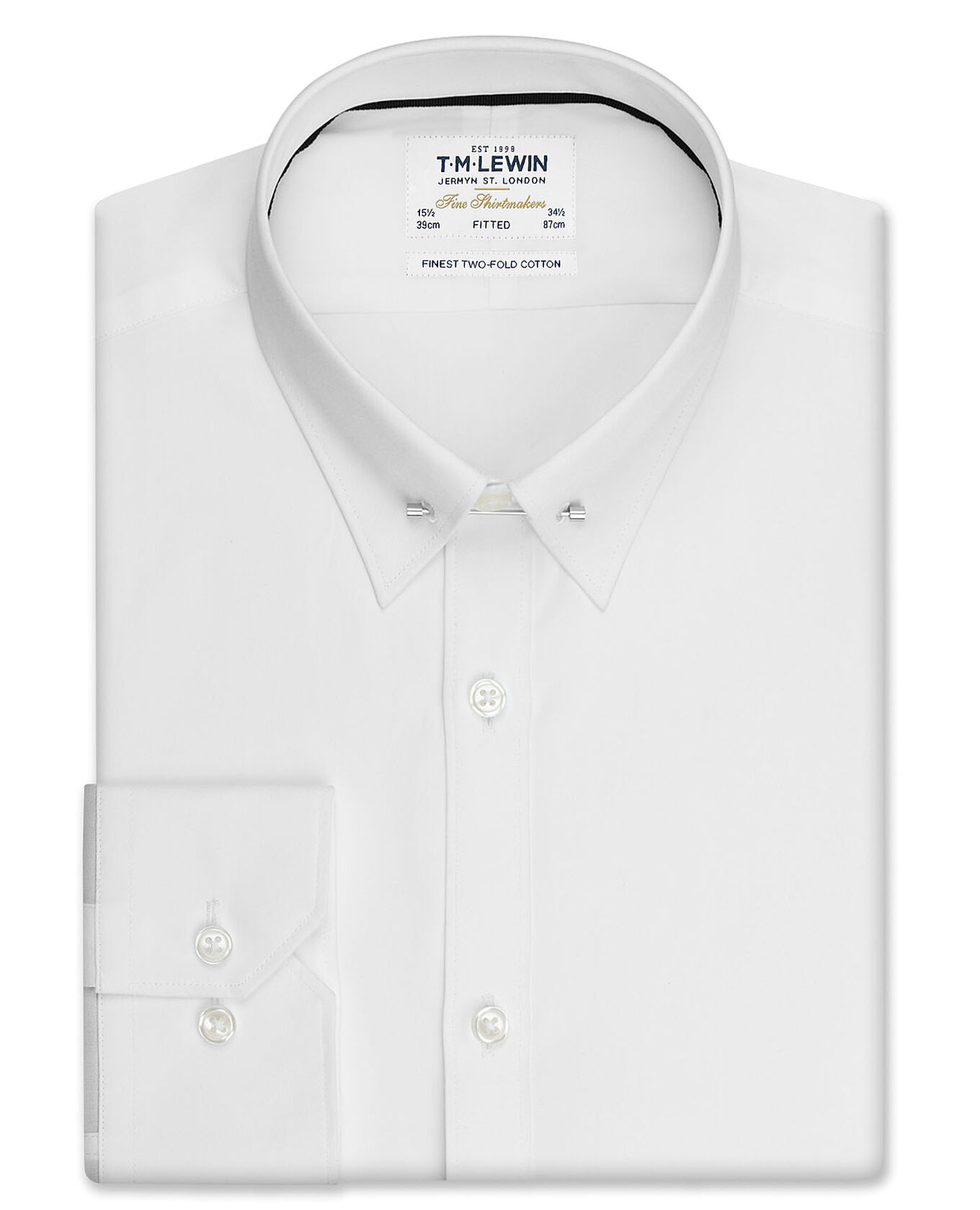 Fitted White Pin Collar Poplin – Dual Cuff