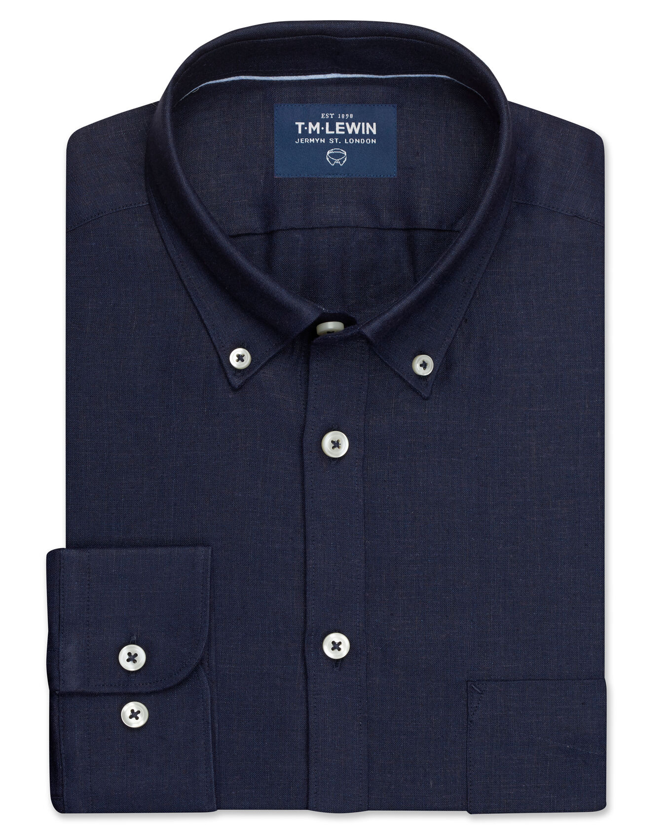 Linen Modal Slim Fit Navy Button Cuff Shirt