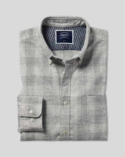 Button-Down Collar Non-Iron Twill Prince of Wales Check Shirt - Grey
