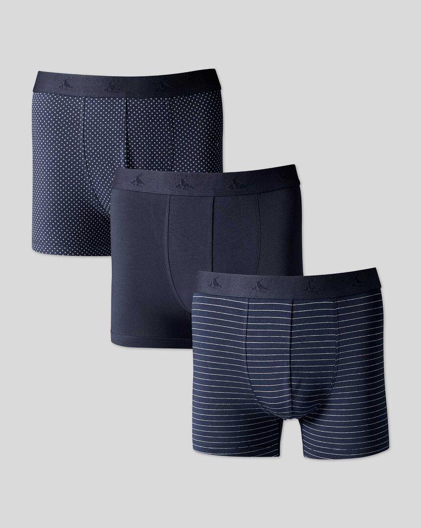 3 Pack Cotton Stretch Jersey Trunks - Navy Multi